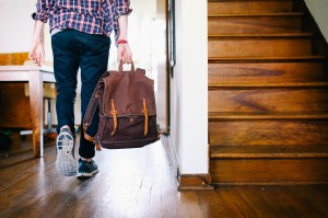 Student leaving the house